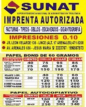 Imprentas Autorizadas por la Sunat